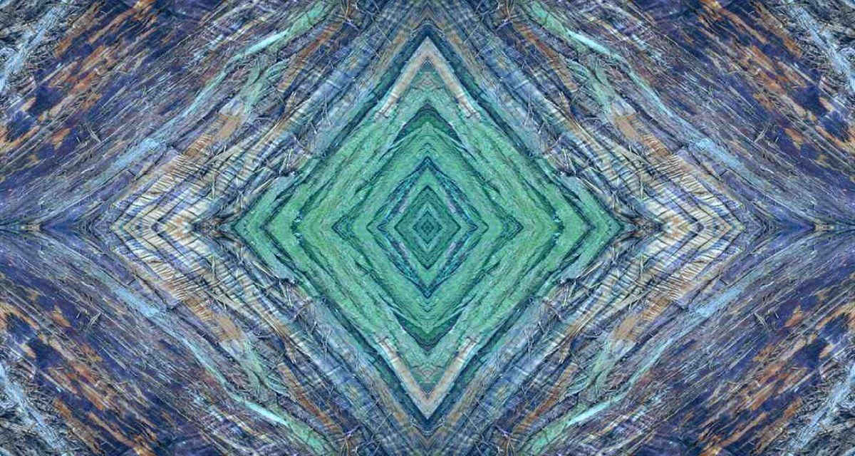 grün-blau-oranges Symbolbild für eine Vagina - fotografisch bearbeitete Baumrinde