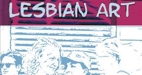 Zeichnung Köpfe von vier Frauen in hellblau-türkis mit Schriftzug Lesbian Art: Auschnitt vom Plakat