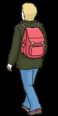 Zeichnung: eine Person mit einem kleinen roten Rucksuck läuft. Sie ist von hinten zu sehen.