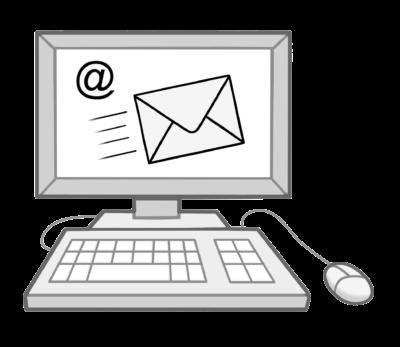 Zeichnung: Ein Computer mit Bildschirm und Tastatur und einem Bild für Email