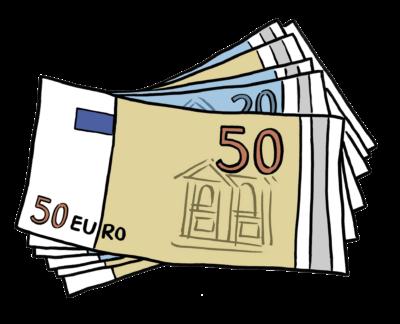 Zeichnung: viele Geldscheine liegen aufeinander