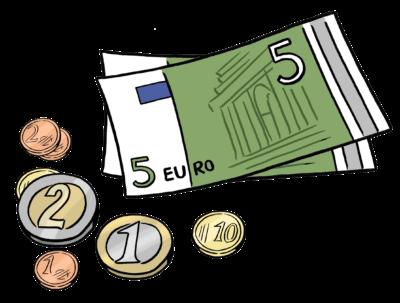 Zeichnung: ein paar Münzen und zwei Fünf-Euro-Geldscheine
