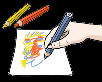 Zeichnung: Eine Hand malt auf einem Stück Papier mit bunten Stiften