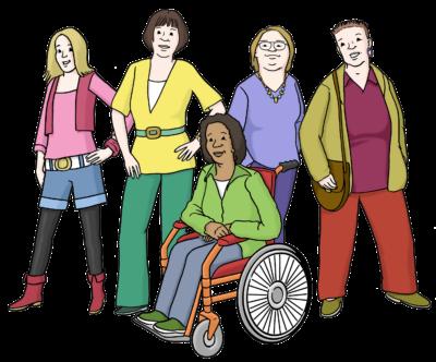 Eine Gruppe von Frauen, eine sitzt im Rollstuhl