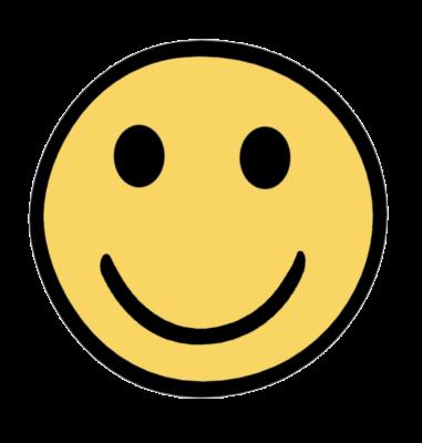 Zeichnung: ein gelbes Smiley mit breitem Grinsen