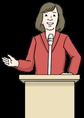 Zeichnung: Eine Frau mit roter Jacke spricht an einem Redepult