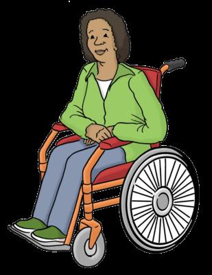 Eine Frau mit grüner Jacke und braunen Locken sitzt im Rollstuhl