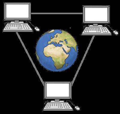 Drei Desktop Rechner stehen im Dreieck angeordnet, in ihrer ist eine Weltkugel zu sehen. Die Computer sind durch Linien verbunden.