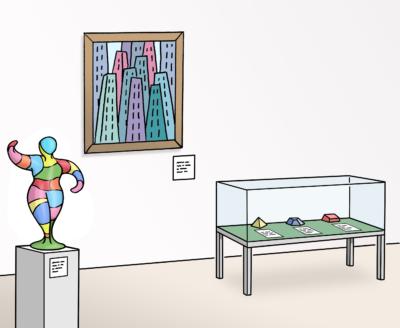 Ausstellungsraum mit Figur auf einem Sockel, Bild an der Wand und einer Vitrine mit Ausstellungsstücken