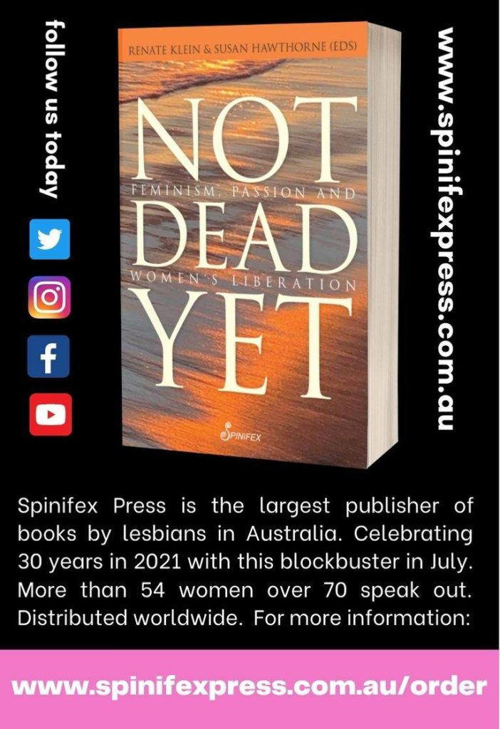 Buchcover von Not Dead Yet zum 30-Jahre-Jubiläum von Spinifex Press in Australien