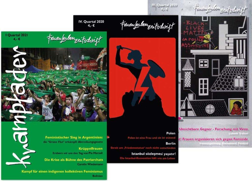 Cover von drei Ausgaben der FrauenLesbenZeitschrift Krampfader